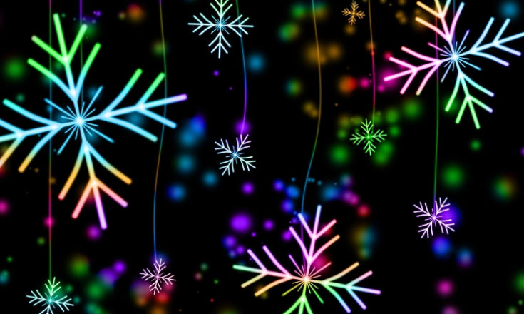Image of colourful snowflakes